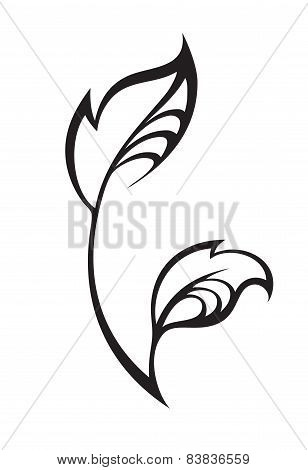 Stylized silhouette of spring leaf isolated on white