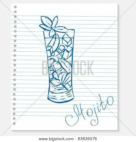 sketch of a mojito cocktail on notebook sheet