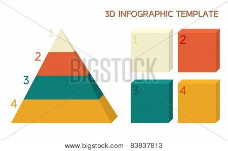 3D Infographic Template In Solid Colors