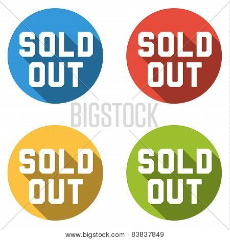 Collection Of 4 Isolated Flat Colorful Buttons For Sold Out