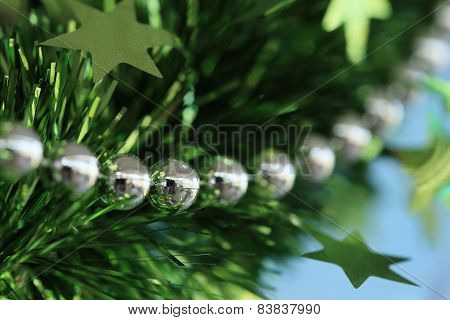 New Year Festive Decoration With Green Tinsel Ribbon And Silver Bead