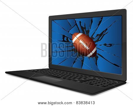 Cracked Laptop American Football