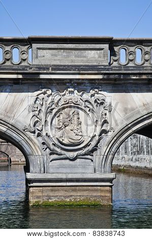 Bridge To Christiansborg Palace Through The Channel