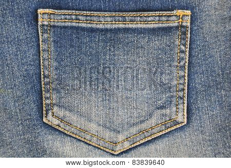 Fragment of jeans with pocket. Can be used as a jeans background