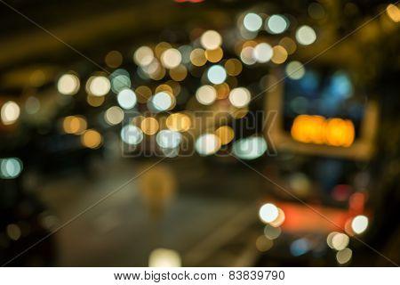 Abstract ligh bokeh on the road