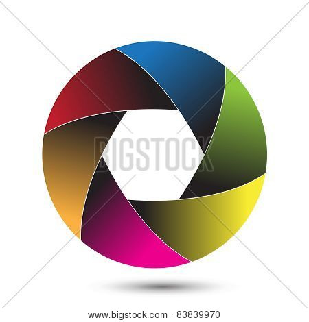 Colorful camera shutter.