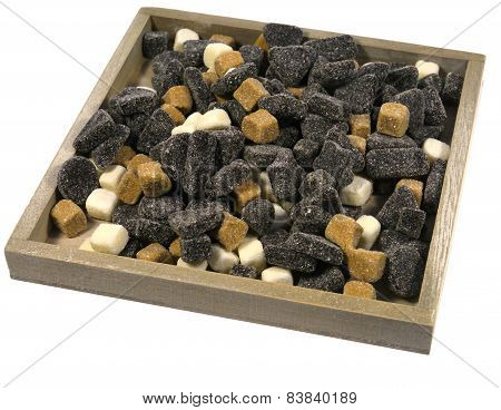 An assortment of liquorice candies