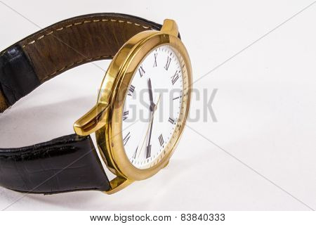 Leather And Gold Watch.