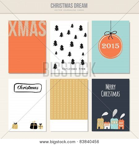 Set Of Christmas Greeting, Journal Cards, Vector