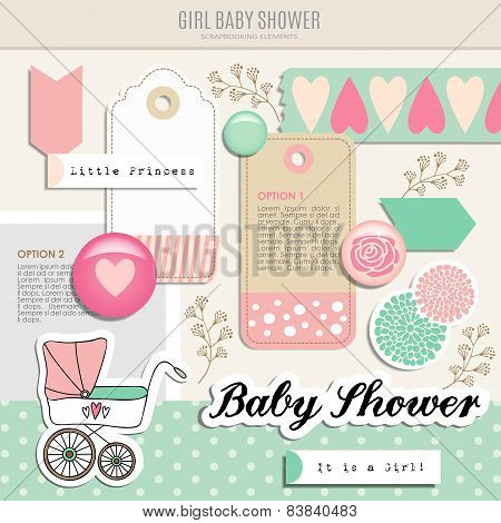 Cute Set Of Baby Shower Scrapbooking Elements, Vector