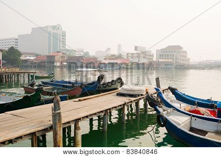 Boats Docked At Chew Jetty In Georgetown, Penang, Malaysia