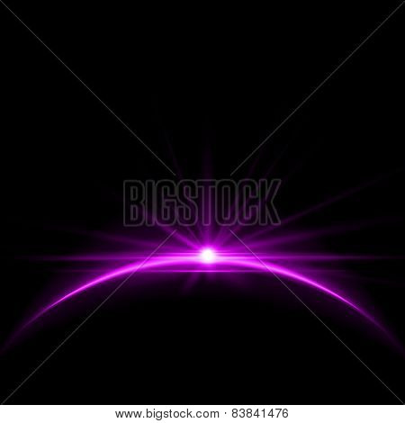 Rising Sun over the Earth Planet with Space Background for your Text. Stock Vector Illustration