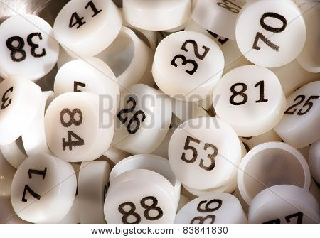 Plenty Of White Plastic Bingo Game Numbers