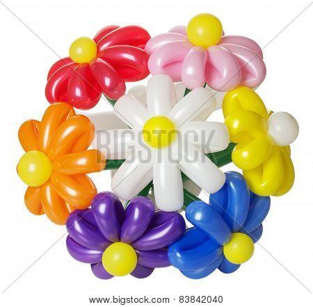 Bouquet With Balloon Flowers Isolated On The White Background