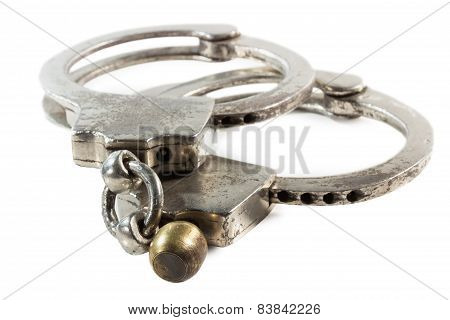 Retro Handcuffs Isolated On The White Background