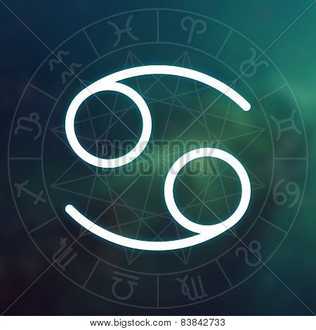 Zodiac Sign - Cancer. White Thin Simple Line Astrological Symbol On Blurry Abstract Space Background