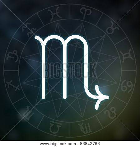Zodiac Sign - Scorpio. White Thin Simple Line Astrological Symbol On Blurry Abstract Background