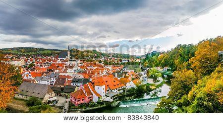 View On Red Roofs In Cesky Krumlov