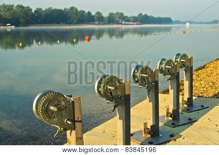 Winch for boats at Ada island lake beach in Belgrade