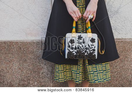 Detail Of Bag Outside Cristiano Burani Fashion Show Building For Milan Women's Fashion Week 2015