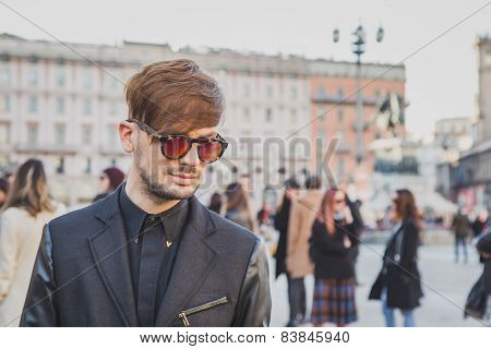 Man Outside Cristiano Burani Fashion Show Building For Milan Women's Fashion Week 2015