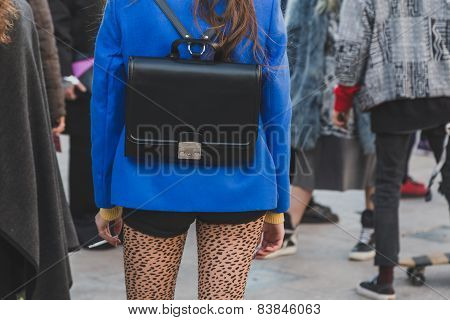 Detail Of Bag Outside Cristiano Burani Fashion Show Building For Milan Women's Fashion Week 2015