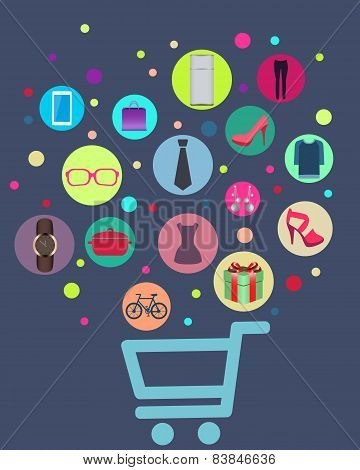 Concept shopping. The cart with clock, shoes and dresses. Vector illustration