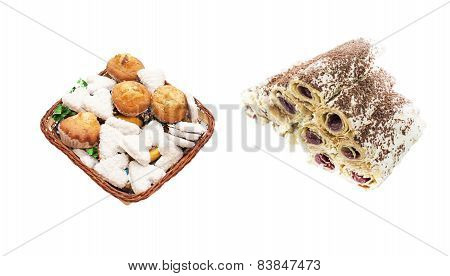 Various Sweets In A Basket And A Cake