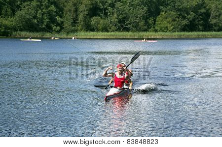 Sporting competitions on kayaks and canoe