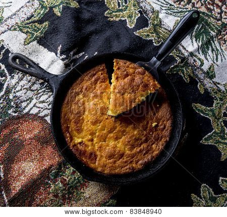 Serving Corn Bread In Cast-iron Pan