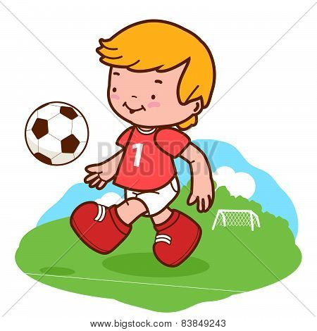 Little boy football player playing soccer