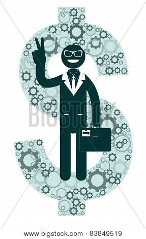 Successful businessman in suit showing victory sign on a background of dollar signs.