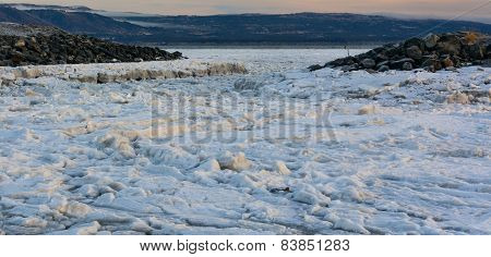 Ice Floes Between Rocks