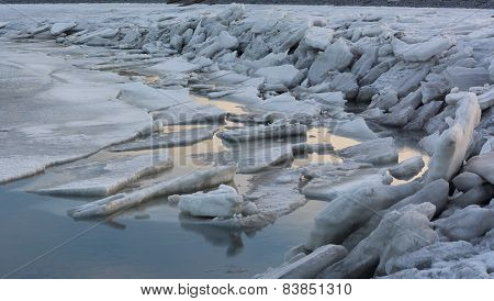 Ice Sheets Pushed Up On Shore