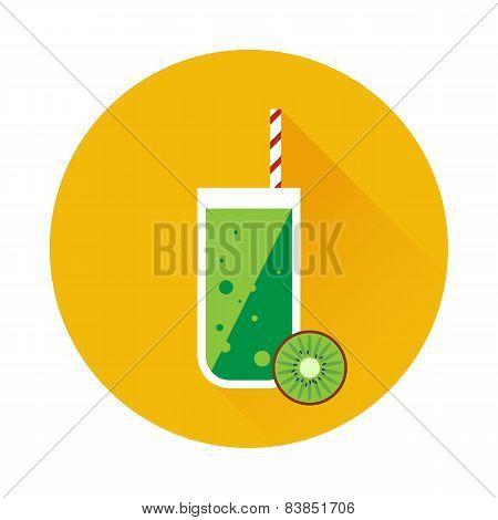 Kiwi shake or juice vector icon