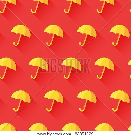 Vector icon of umbrella on red background