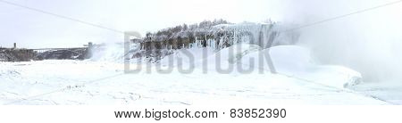 Frozen Niagara River With American And Horseshoe Falls And Rainbow Bridge