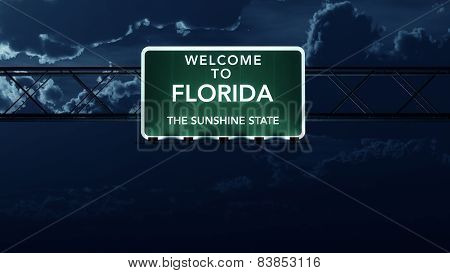 Florida USA State Welcome to Interstate Highway Sign at Night