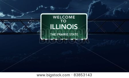 Illinois USA State Welcome to Interstate Highway Sign at Night