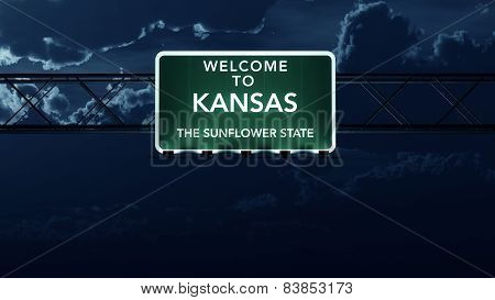 Kansas USA State Welcome to Interstate Highway Sign at Night