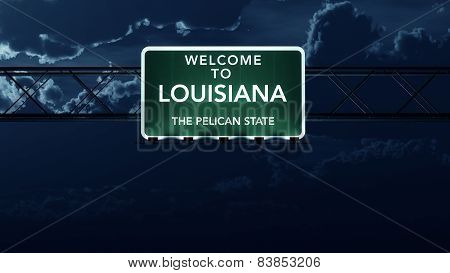 Louisiana USA State Welcome to Interstate Highway Sign at Night