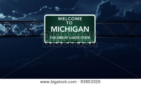 Michigan USA State Welcome to Interstate Highway Sign at Night