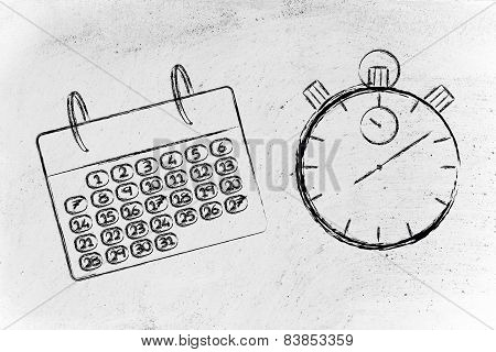 Time And Project Management For The Global Business, Calendar And Stopwatch