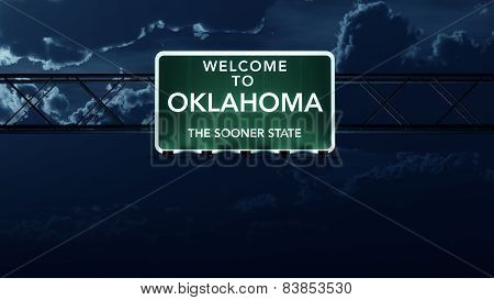 Oklahoma USA State Welcome to Interstate Highway Sign at Night