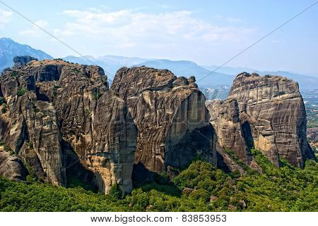 Panoramic View On Meteora, Greece.