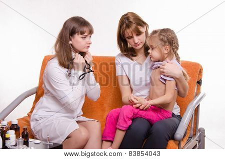 Pediatrician Ready To Test Breath Stethoscope A Little Girl With Her Mother