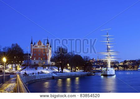 Wonderful Winter Night Wiev Of The Admiralty House And The Af Chapman Ship In Stockholm, Sweden