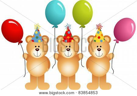 Birthday Teddy Bears With Balloons