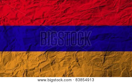 Flag Of Armenia With Old Texture. Vector
