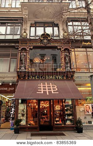 Ornate Facade Of Lobmeyr Store In Vienna, Austria.